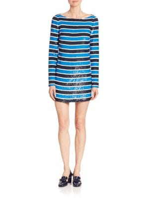 Paillette Stripe Silk Tee Dress