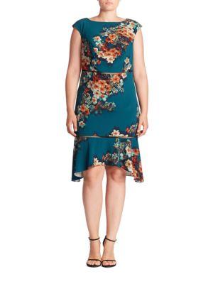 Cutout Floral-Print Dress
