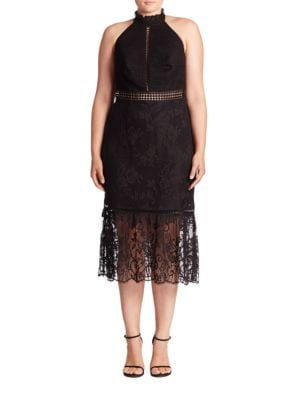 Lace Halter Midi Dress