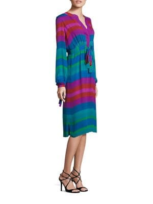 Long-Sleeve Multi Stripe Silk Dress