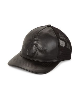 gucci male beeembossed leather baseball hat