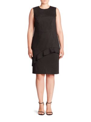 Ruffle Pinstripe Sheath Dress