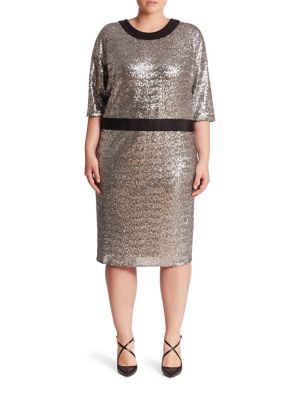Plus Domanin Sleeve Fitted Sequin Dress