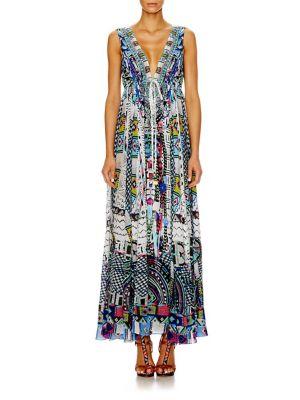 camilla female  silk crepe drawstring maxi dress