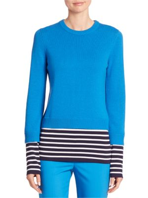 Striped Cashmere & Cotton Pullover