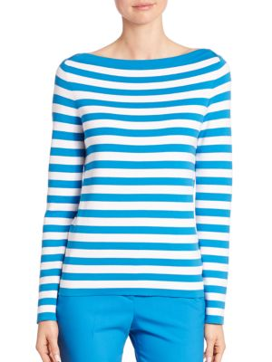 Striped Boatneck Cotton Sweater by Michael Kors Collection