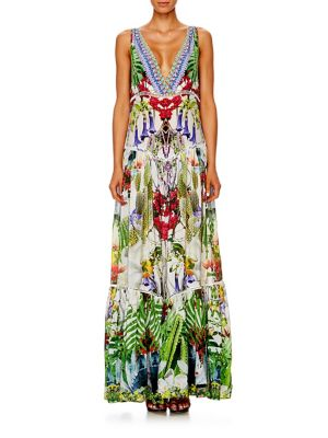 camilla female tiered silk crepe maxi dress