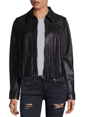 Leather Fringe Moto Jacket
