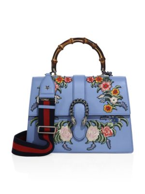 Dionysus Embroidered Leather Top-Handle Bag