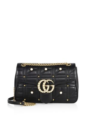 gucci female medium gg marmont studded matelasse leather chain shoulder bag