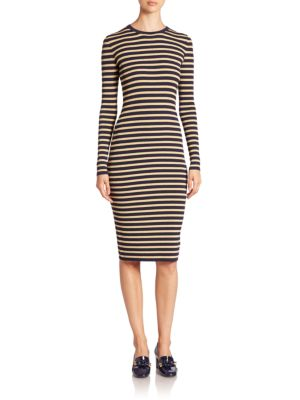 Metallic-Stripe Crewneck Dress