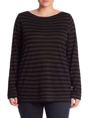 Striped Merino Wool Top plus size, plus size tops, plus size shirts, plus size blouses,
