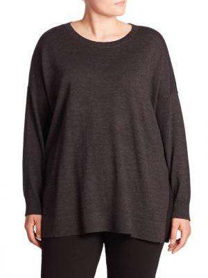 Merino Wool Side Slit Sweater plus size,  plus size fashion plus size appare