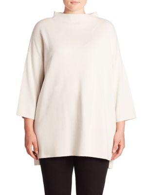 Silk & Organic Cotton Funnelneck Tunic plus size,  plus size fashion plus size appare