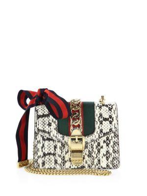 Sylvie Snakeskin Mini Chain Shoulder Bag