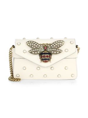 Broadway Bee Studded Leather Chain Clutch