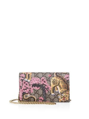 gucci female bengalprint gg supreme canvas chain wallet