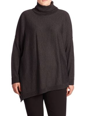 Merino Wool Asymmetrical Turtleneck Sweater plus size,  plus size fashion plus size appare