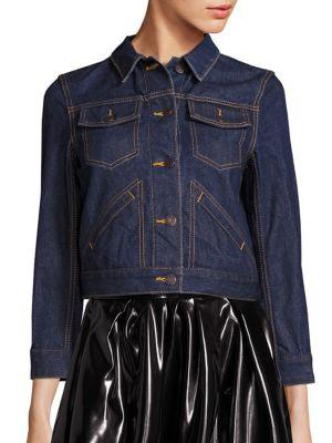 marc jacobs female  customized pinembellished shrunken denim jacket