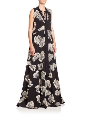 Palm Leaf Jacquard Gown