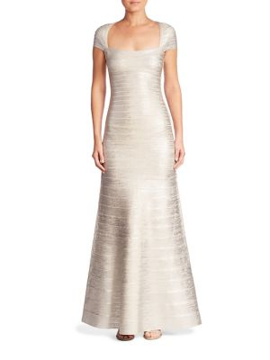 Foiled Cap-Sleeve A-Line Gown