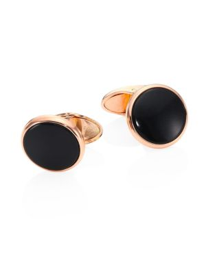 Stone Button Onyx Cufflinks