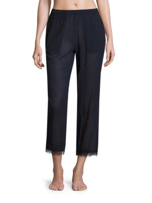 Woven Cotton Gauze Cropped Pants