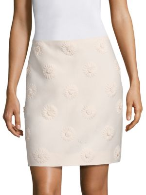 Daisy Embroidered Wool & Silk Crepe Couture Skirt