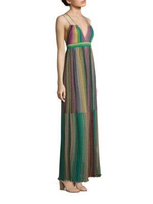 Multicolored Striped Plisse Dress