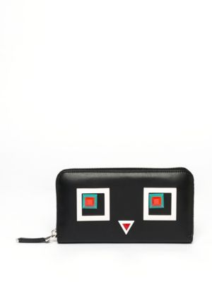 2Jours Square Eyes Leather Zip-Around Wallet