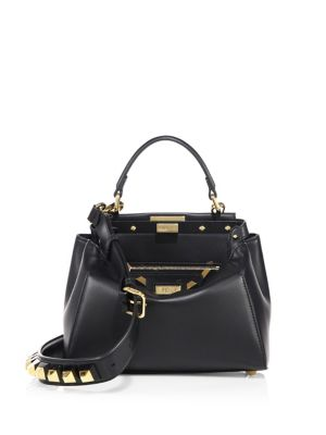 Mini Peekaboo Studded Leather Satchel
