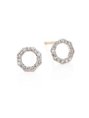PHILLIPS HOUSE Small Open Hero Diamond & 14K Yellow Gold Stud Earrings