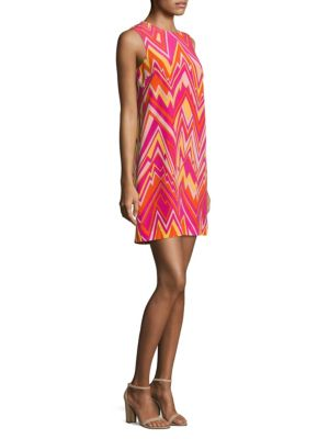 Retro Zigzag Silk-Blend Shift Dress