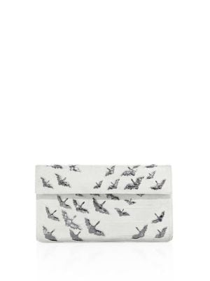 Crane Crocodile & Python Flap Clutch