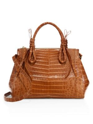 Large Double Tie-Knot Crocodile Tote