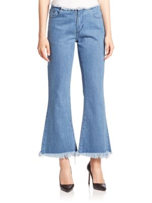 Frayed Cropped Flared Jeans