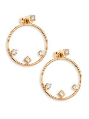 "Diamond & 14K Yellow Gold Hoop Earrings/1.25"""