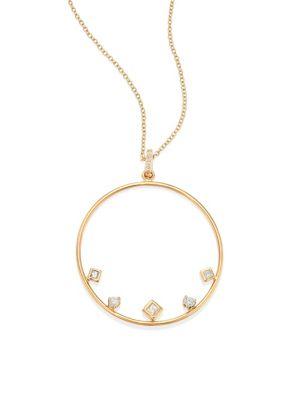Mixed Diamond & 14K Yellow Gold Circle Necklace