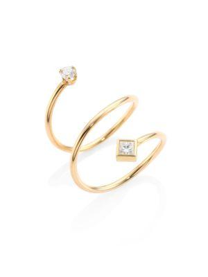 Diamond & 14K Yellow Gold Spiral Ring