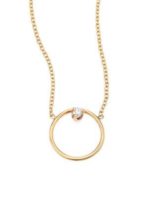 Diamond & 14K Yellow Gold Circle Necklace