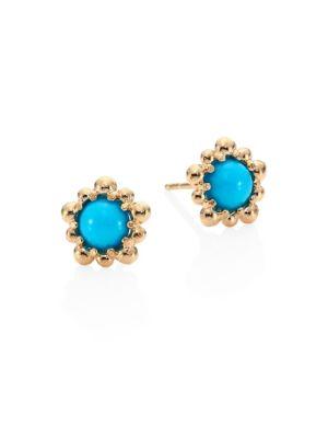 Dew Drop Sleeping Beauty Turquoise & 14K Yellow Gold Micro Stud Earrings
