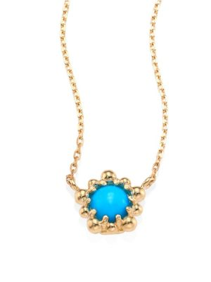 Micro Dew Drop Sleeping Beauty Turquoise & 14K Yellow Gold Pendant Necklace