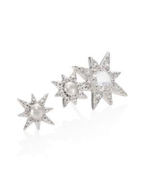 Aztec Double Starburst White Topaz & Sapphire Mini Stud Earrings
