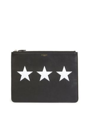 Star Zip Leather Pouch