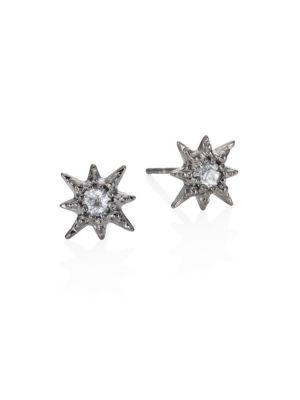 Aztec Starburst White Topaz Micro Stud Earrings