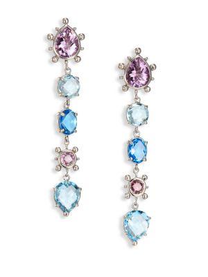 Dew Drop Marine Light Amethyst, Sky Blue Topaz & Swiss Blue Topaz Drop Earrings