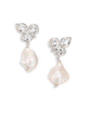 Bouquet 12-15MM Baroque Freshwater Pearl & White Topaz Drop Earrings