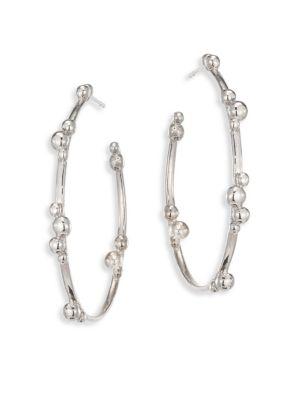 Dew Drop Marine Sterling Silver Hoop Earrings/1.5