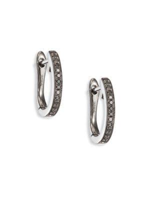 Eclipse Diamond & 18K White Gold Fine Hoop Earrings/1