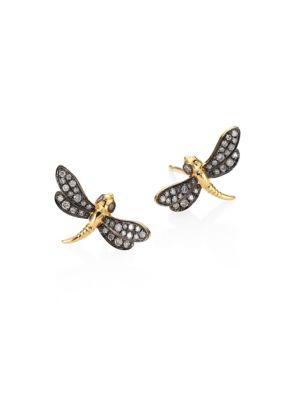 Love Diamonds & 18K Yellow Gold Dragonfly Stud Earrings